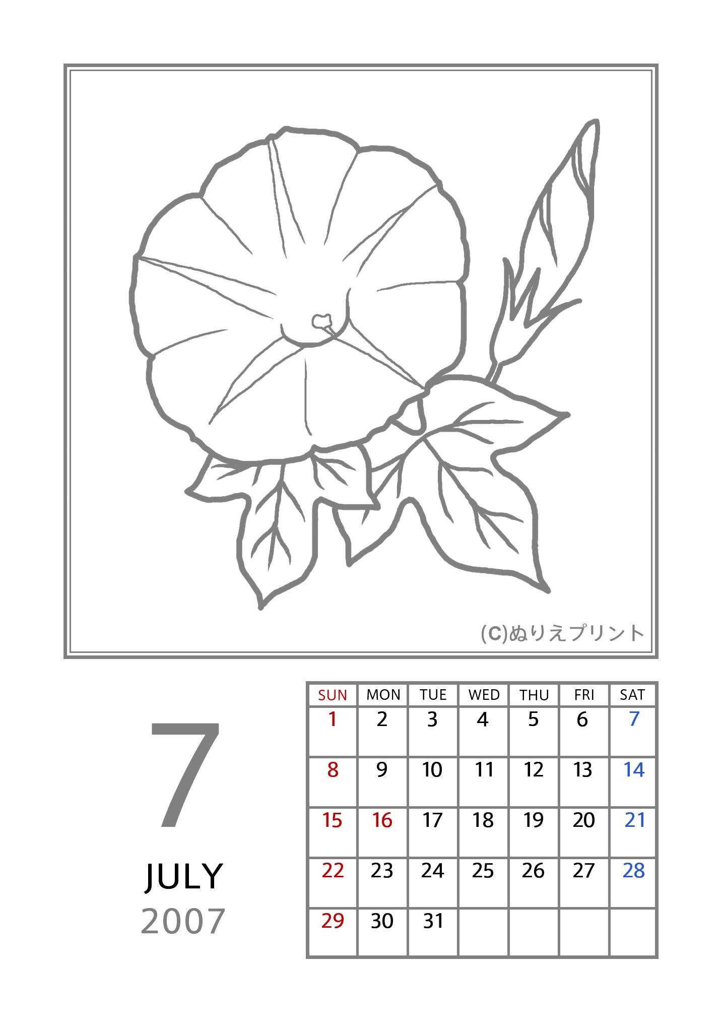 ... 平成19年/花のぬりえカレンダー