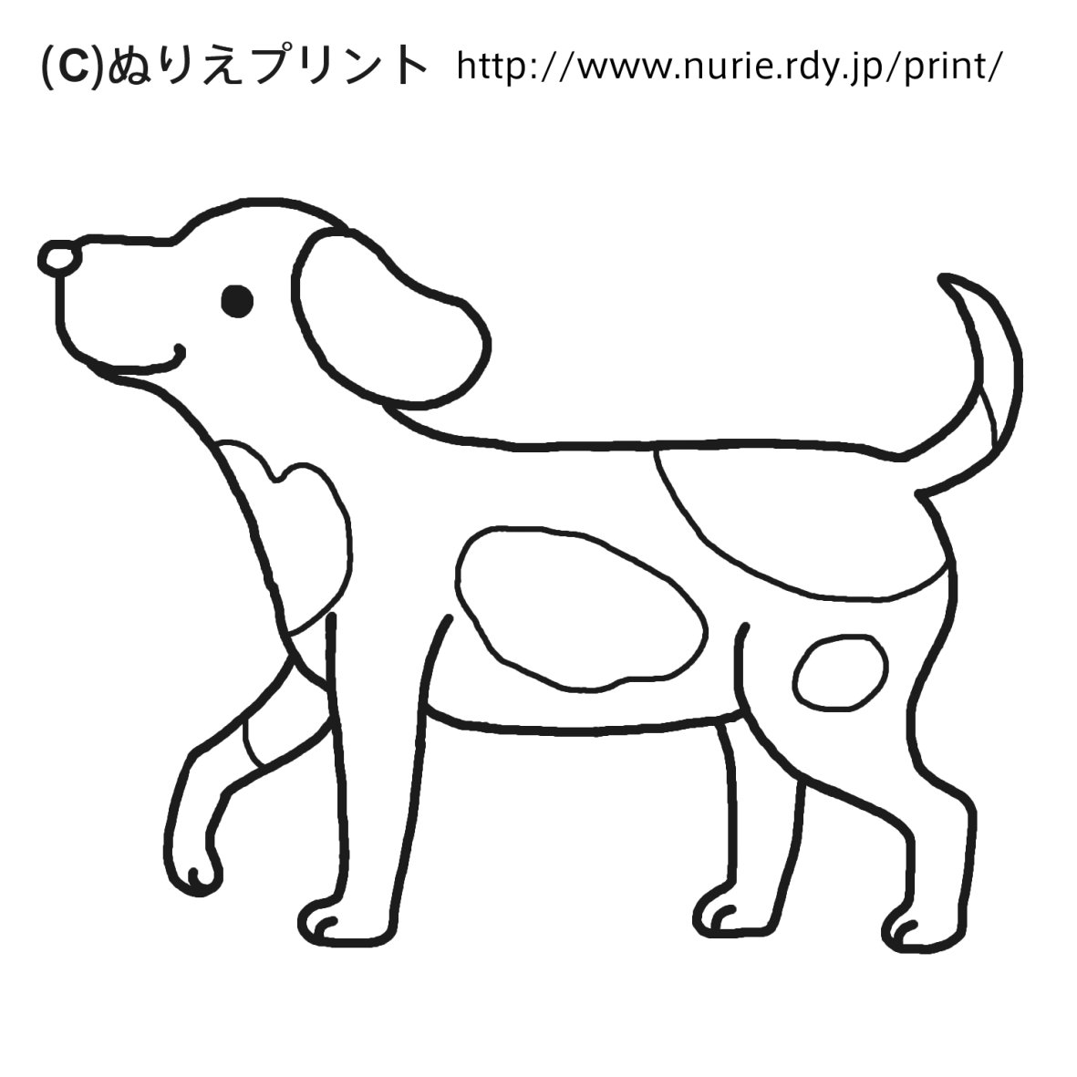 ぬりえ/無料/犬(いぬ)/動物/こどものぬりえ