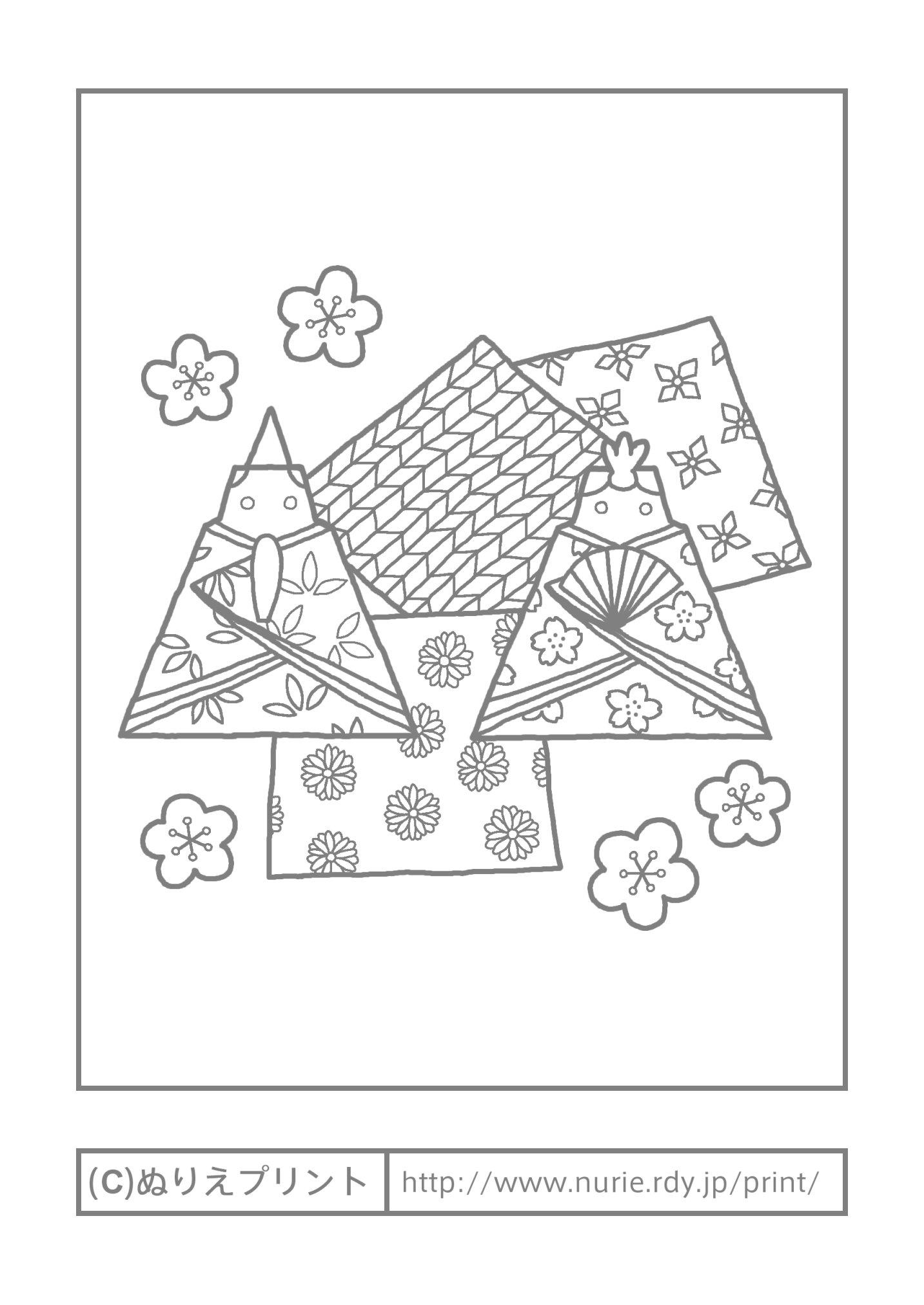 折り紙 お雛様の折り紙 : 折り紙のお雛様(主線・グレー ...