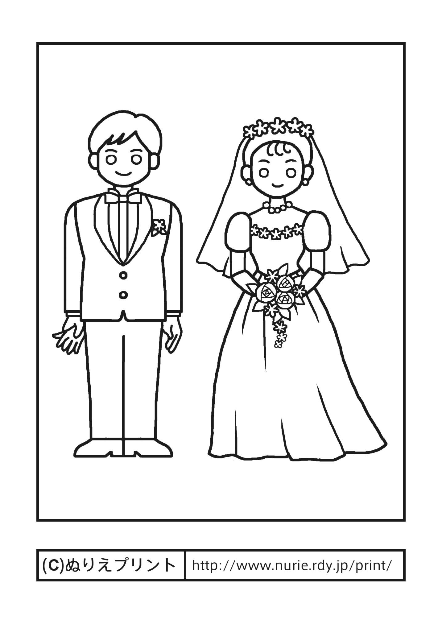 結婚式・教会・洋式(主線・黒)/ジューンブライド/夏の季節・行事/大人の塗り絵【ぬりえプリント】